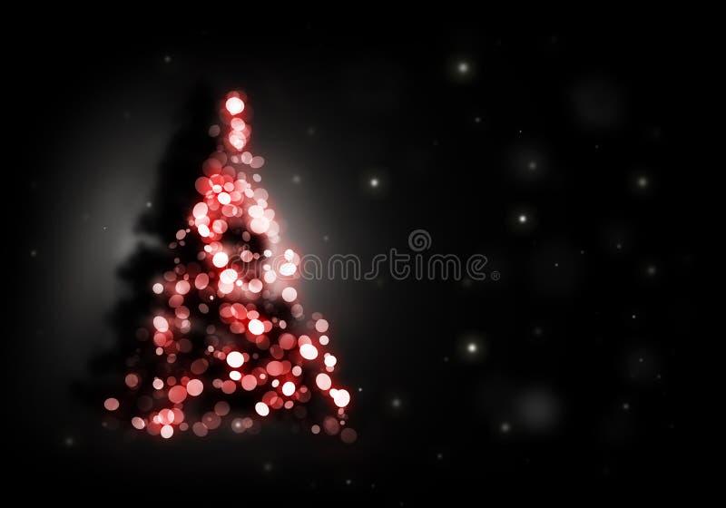 Weihnachtsbaum, der auf Schwarzem glänzt lizenzfreie abbildung