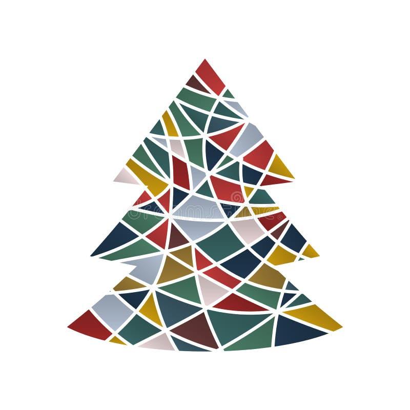 Weihnachtsbaum in der bunten bunten abstrakten Version lizenzfreie abbildung