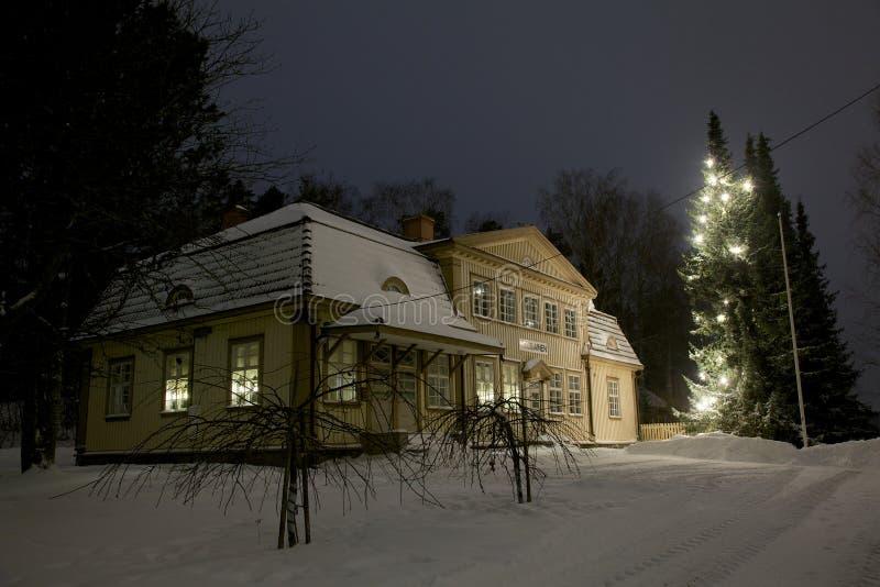 Weihnachtsbaum draußen stockbild