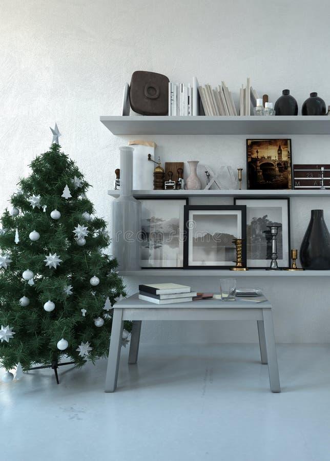 Weihnachtsbaum in einem Familienwohnzimmer stock abbildung