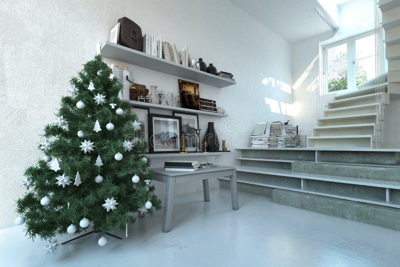 Weihnachtsbaum in einem modernen Wohnzimmerinnenraum vektor abbildung