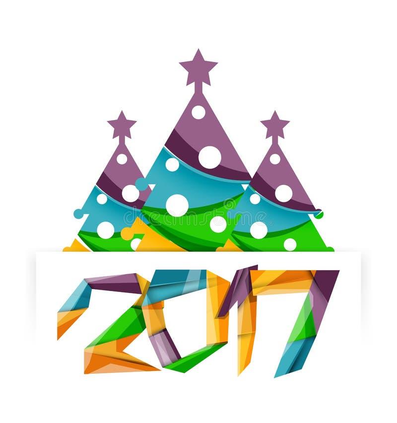 Weihnachtsbaum, Fahnenelemente des neuen Jahres lizenzfreie abbildung