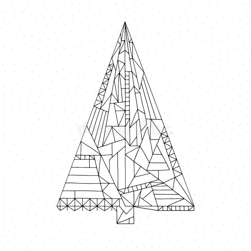 Weihnachtsbaum-Farbtonseite Hand gezeichnete abstrakte Winterurlaubvektorillustration Weihnachtshintergrund in der modernen Art stock abbildung