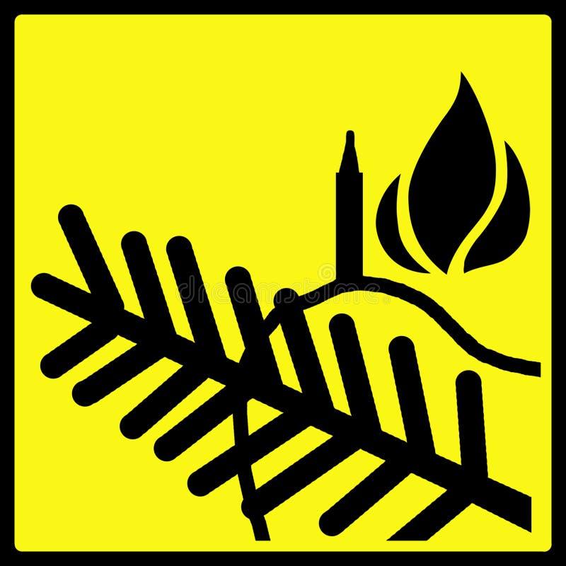 Weihnachtsbaum-Flamme-WARNING Stockfotografie