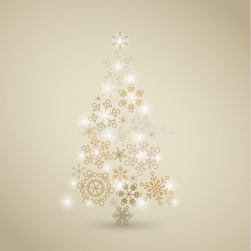 Weihnachtsbaum gebildet von den goldenen Schneeflocken stock abbildung