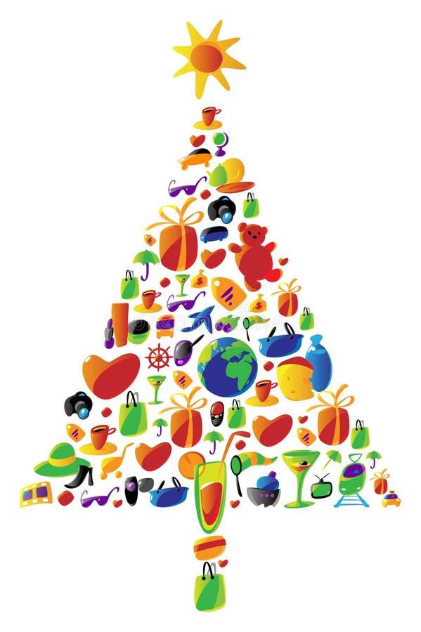 Weihnachtsbaum gebildet von den Ikonen lizenzfreie abbildung