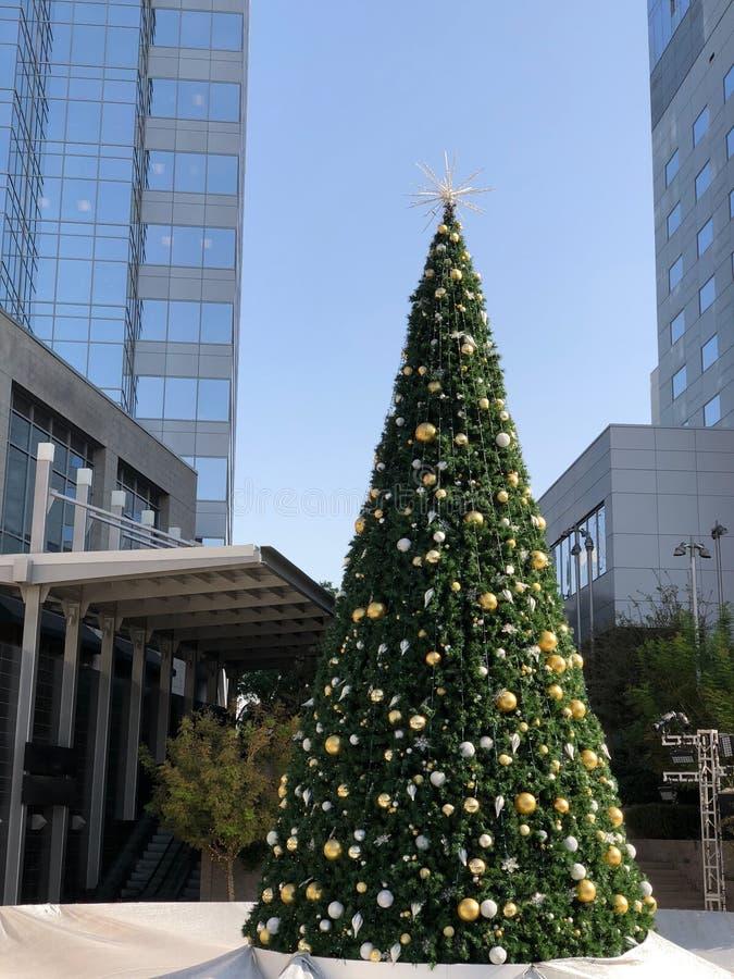 Weihnachtsbaum gegen Wolkenkratzer-Wettbewerb stockfotografie