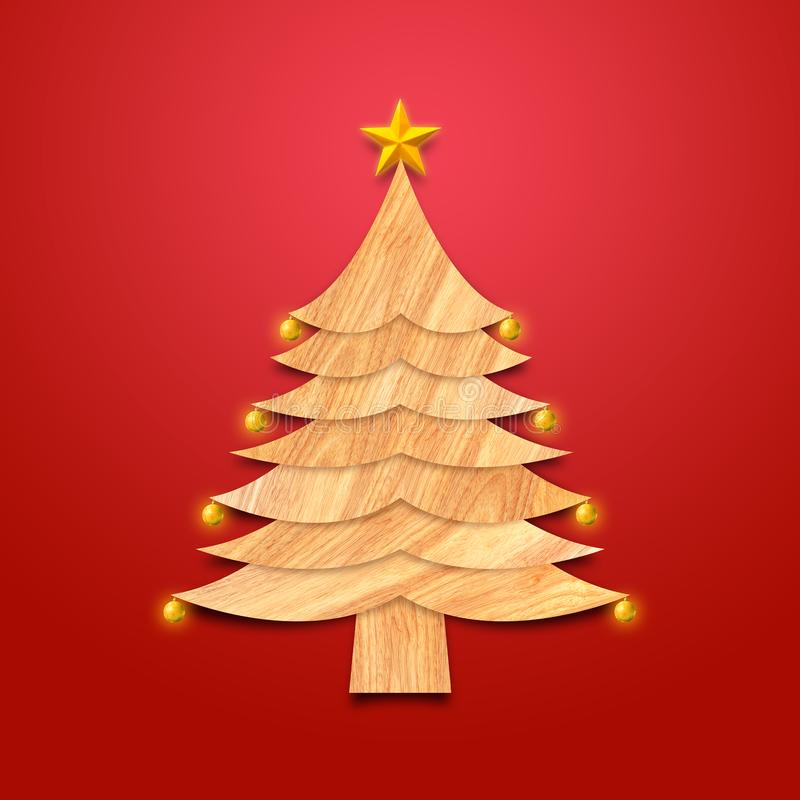 Weihnachtsbaum gemacht vom Holz mit Dekorationen und goldenem Stern stockfotos