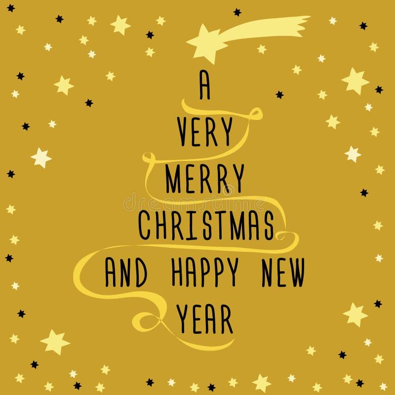Weihnachtsbaum gemacht vom Text mit goldenem Band und gelbem Stern oben Vektorillustration auf goldenem Hintergrund mit kleinem S lizenzfreie abbildung