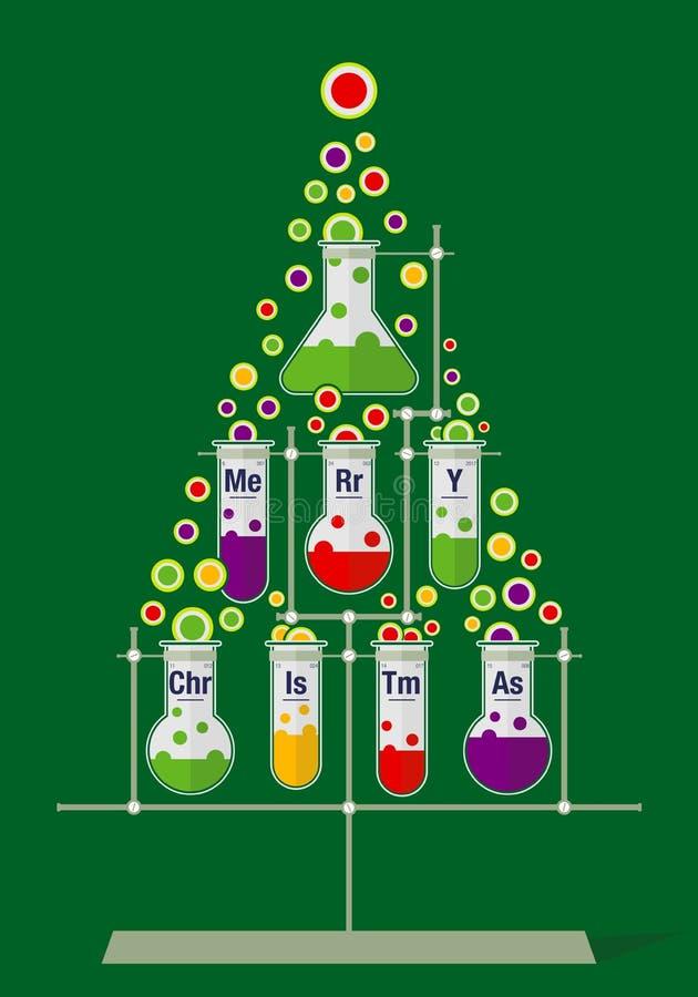 Weihnachtsbaum gemacht von den Reagenzgläsern und den Blasen auf dunkelgrünem Hintergrund stock abbildung