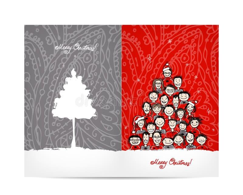 Weihnachtsbaum gemacht von der Gruppe von Personen, Postkarte stock abbildung