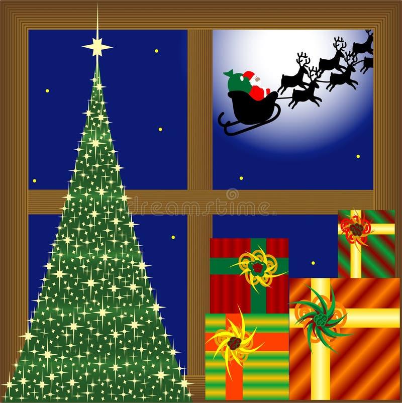 Weihnachtsbaum, Geschenke und Weihnachtsmann stock abbildung
