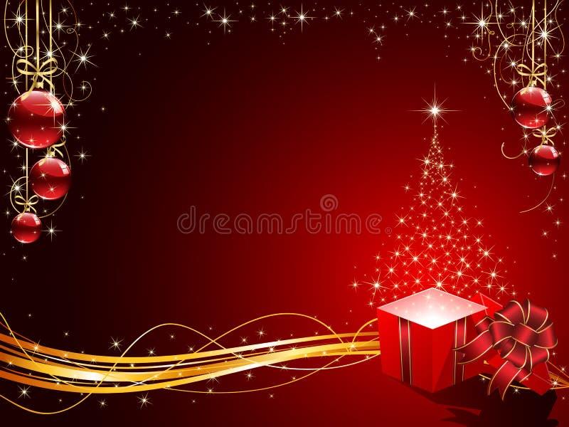 Weihnachtsbaum, Geschenkkasten und Kugeln lizenzfreie abbildung