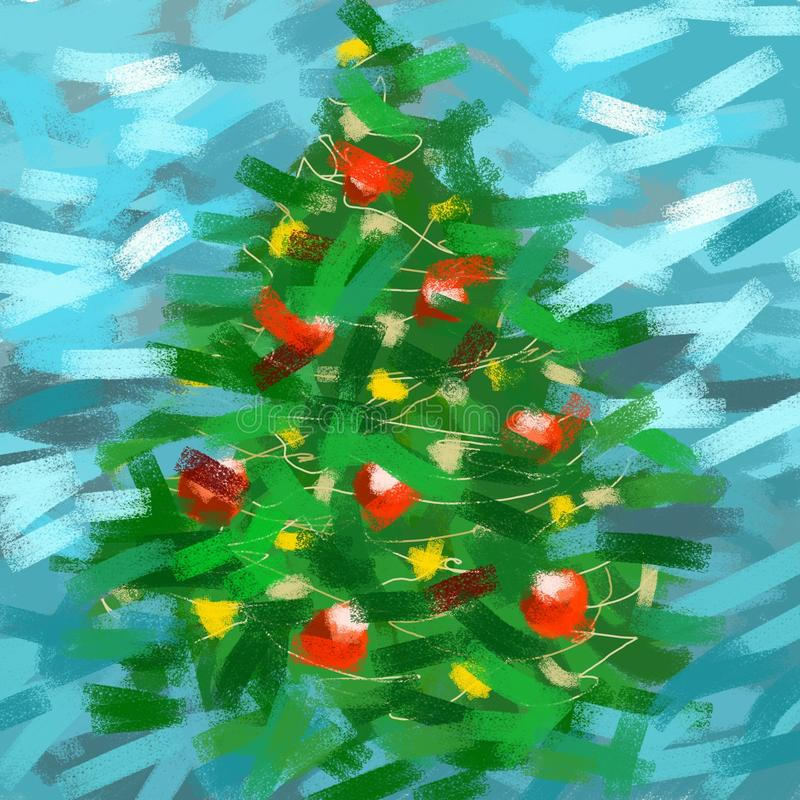 Weihnachtsbaum gezeichnet durch Pastell vektor abbildung