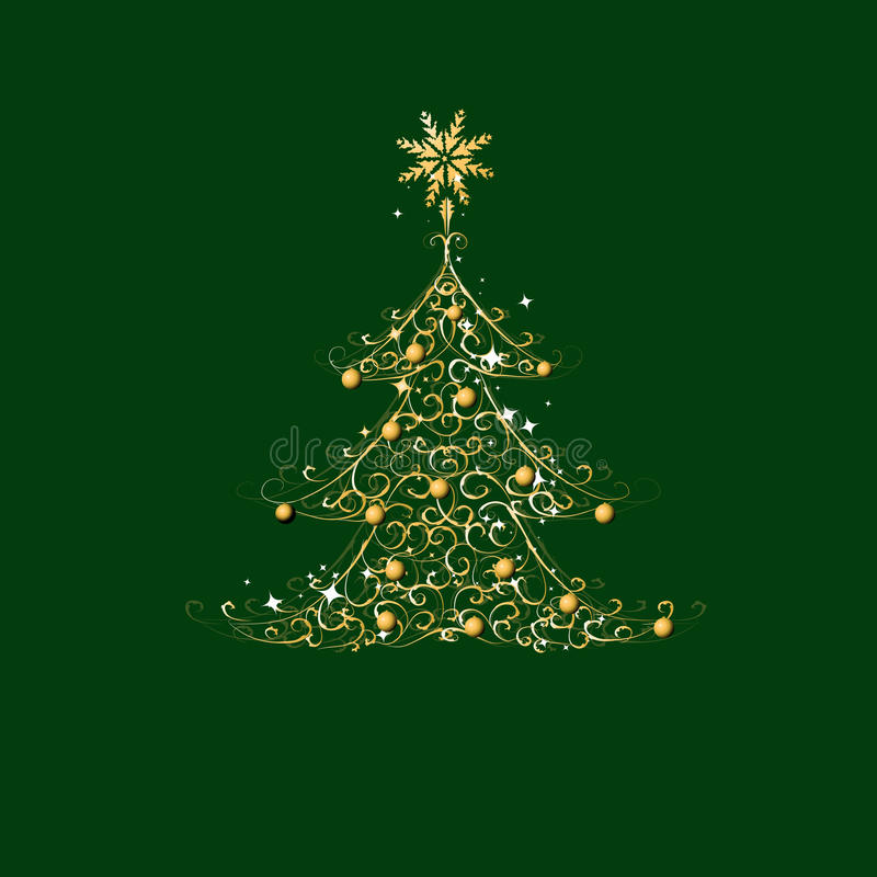 Weihnachtsbaum, goldene Verzierung lizenzfreie abbildung