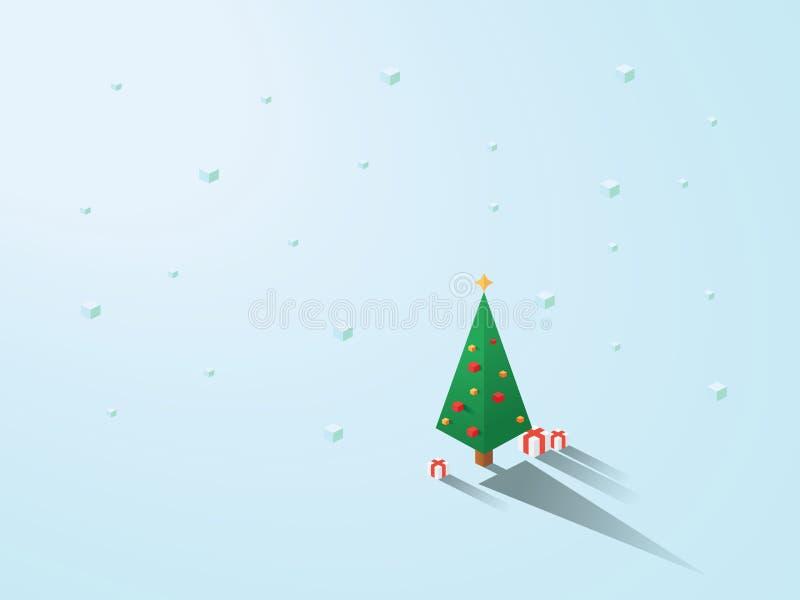 Weihnachtsbaum im modernen minimalistic isometrischen polygonalen geometrischen Stil Weißer Hintergrund mit dem Schneien stock abbildung
