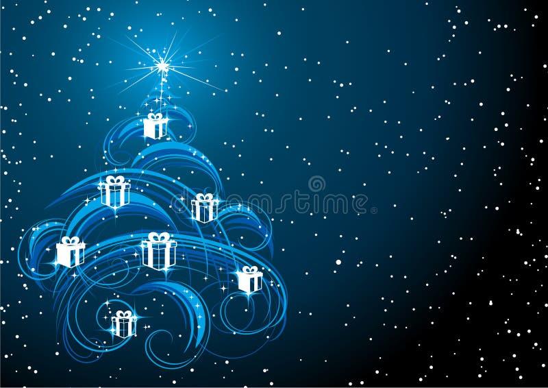 Weihnachtsbaum im sternenklaren Himmel stock abbildung