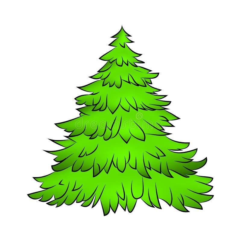 Weihnachtsbaum, Karikaturdesign für Karte, Ikone, Symbol Wintervektorillustration auf weißem Hintergrund vektor abbildung
