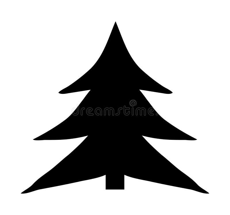 Weihnachtsbaum-Karikaturvektorsymbol-Ikonendesign lizenzfreie abbildung