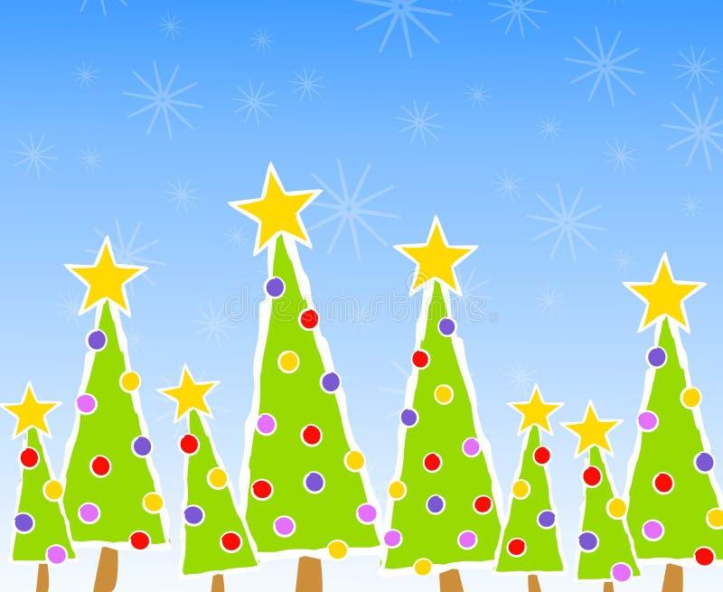 Weihnachtsbaum-Karten-Szene lizenzfreie abbildung