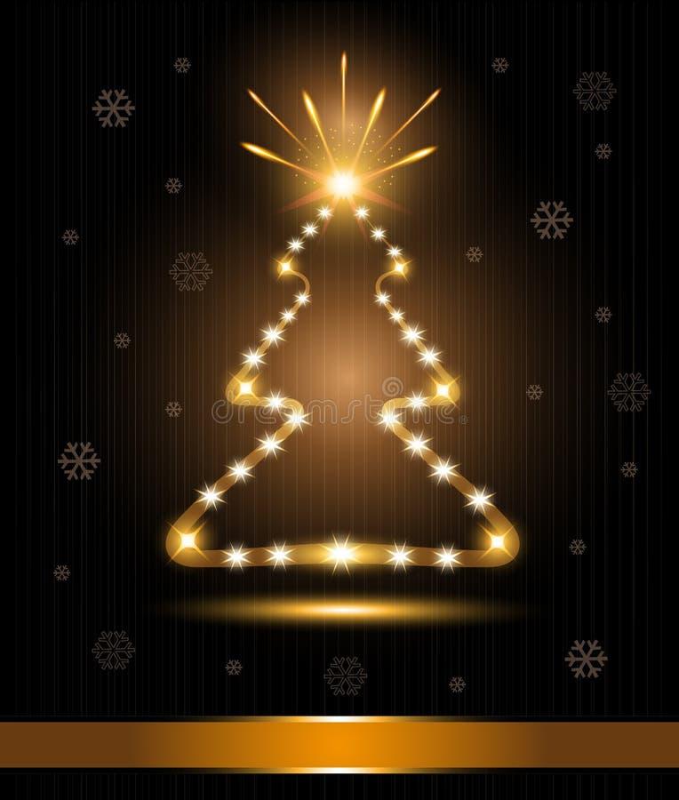 Weihnachtsbaum-Kartenglückwunschgoldleuchte glo stock abbildung