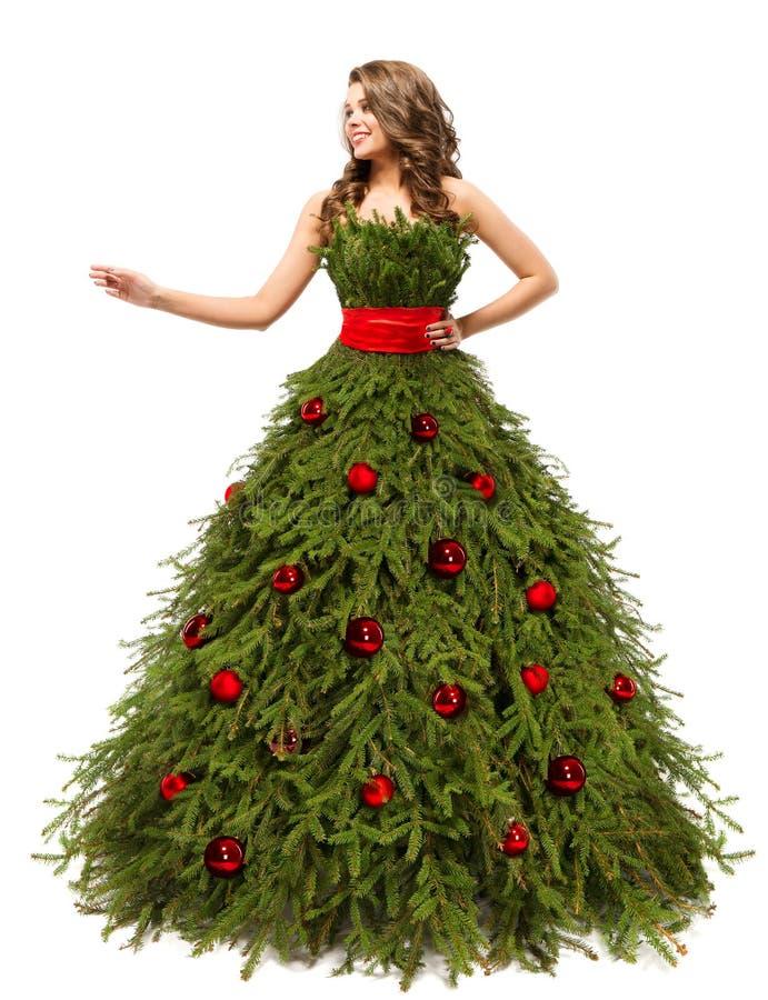 Weihnachtsbaum-Kleid, Mode-Frau und anwesende Geschenke, weiß lizenzfreies stockfoto