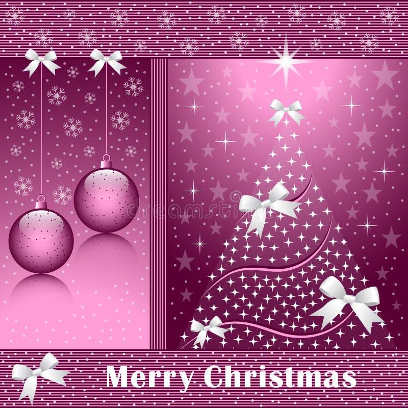 Weihnachtsbaum, -kugeln und -bögen lizenzfreie abbildung