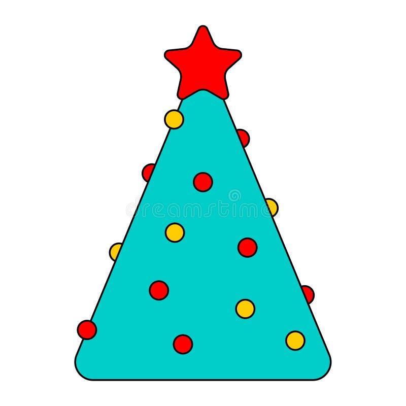 Weihnachtsbaum linear Neues Jahr-Vektorillustration stock abbildung