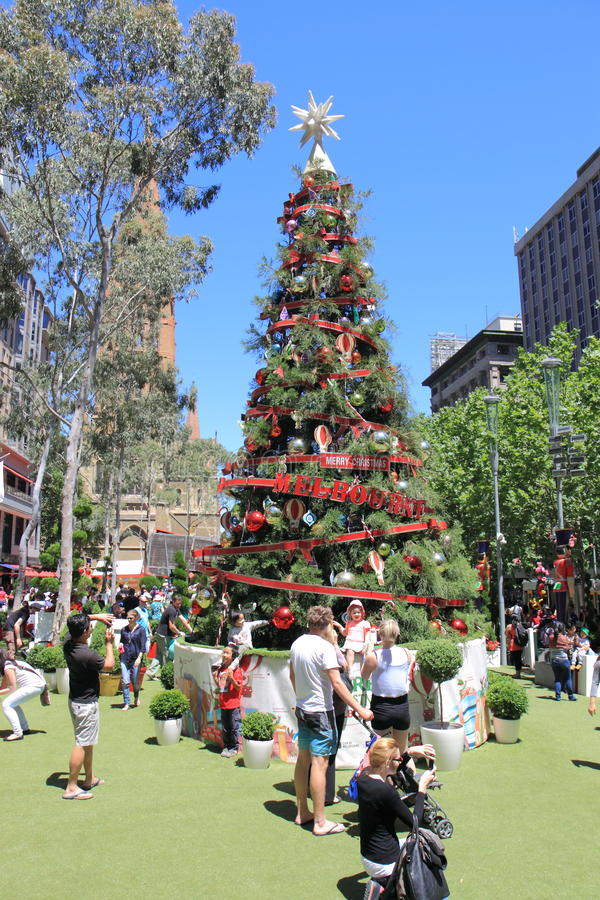 Weihnachtsbaum Melbourne lizenzfreie stockbilder