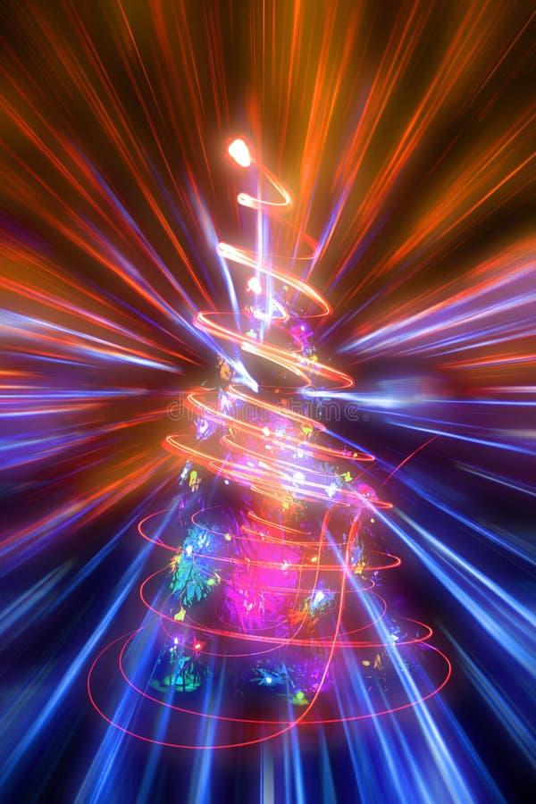 Weihnachtsbaum mit abstrakter Weihnachtslichtexplosion vektor abbildung