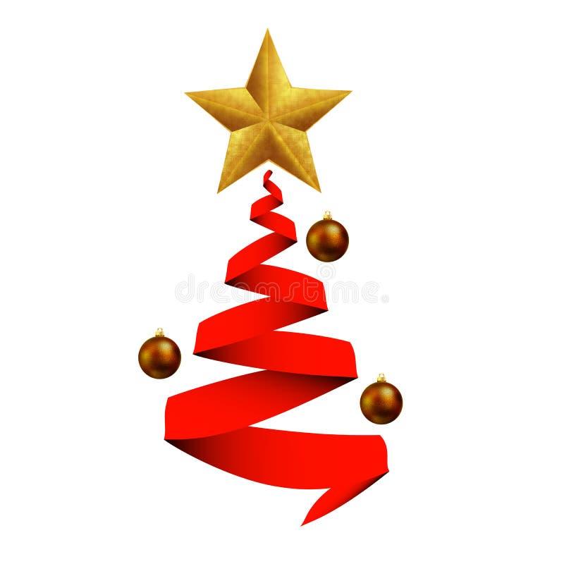 Weihnachtsbaum mit Bändern und Bereiche mit einem Stern stock abbildung