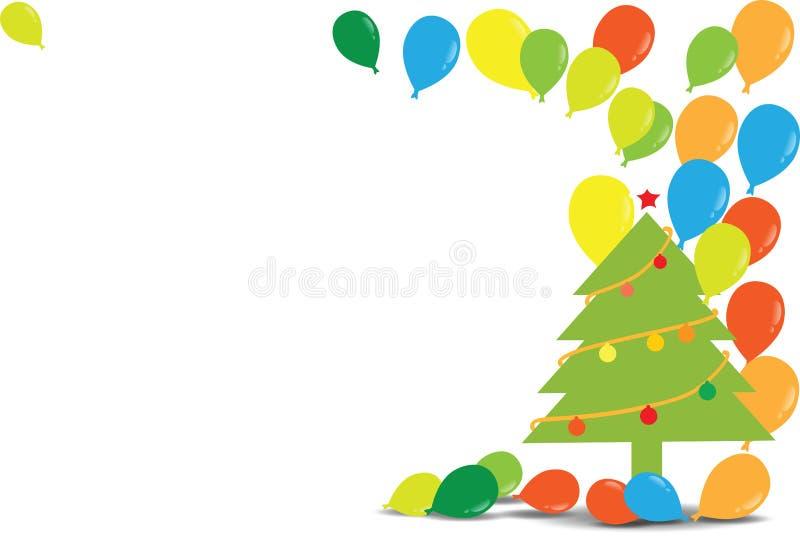 Weihnachtsbaum mit Ballonen lizenzfreie abbildung