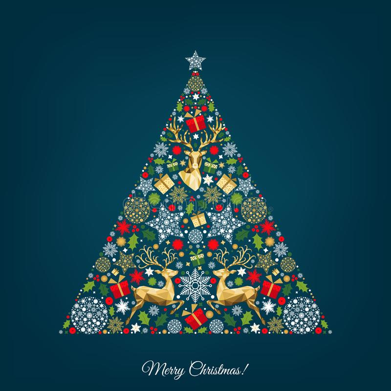 Weihnachtsbaum mit buntem Ren, Geschenke, Schneeflocken lizenzfreie abbildung