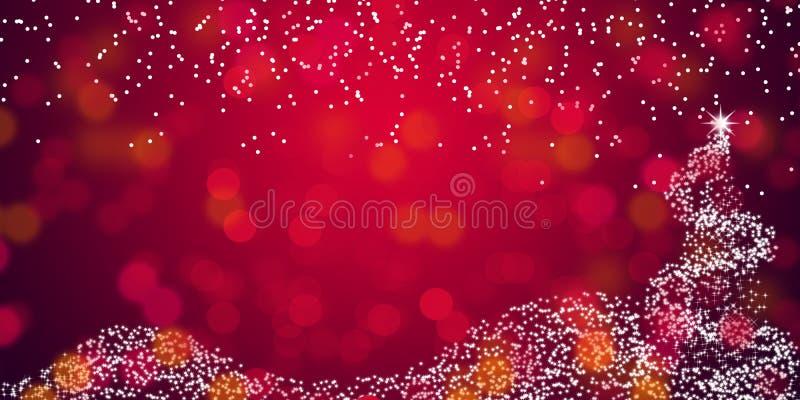Weihnachtsbaum mit de-fokussierter roter abstrakter Hintergrundtapete der Lichter lizenzfreie stockfotos