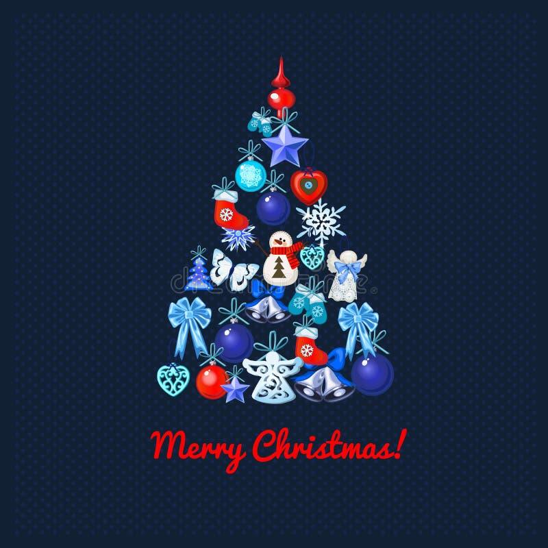 Weihnachtsbaum mit Dekoration auf einem Blau punktierte Hintergrund und die Wörter frohen Weihnachten Probe des Plakats, Partei lizenzfreie abbildung