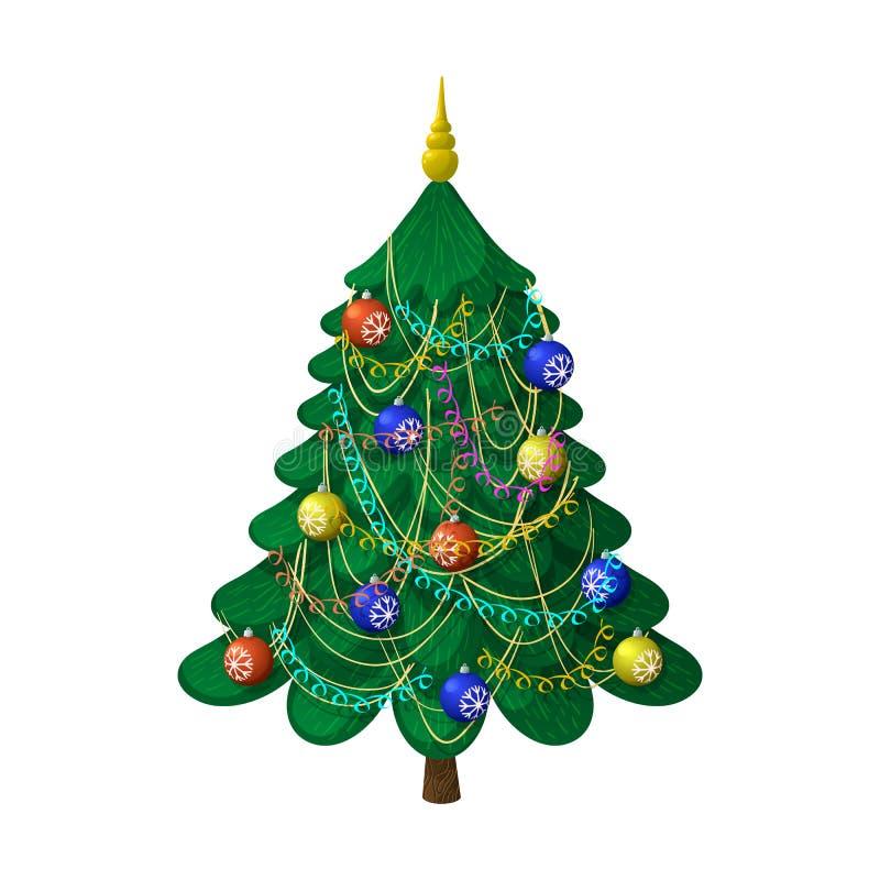Weihnachtsbaum mit Dekorationen stockfotos