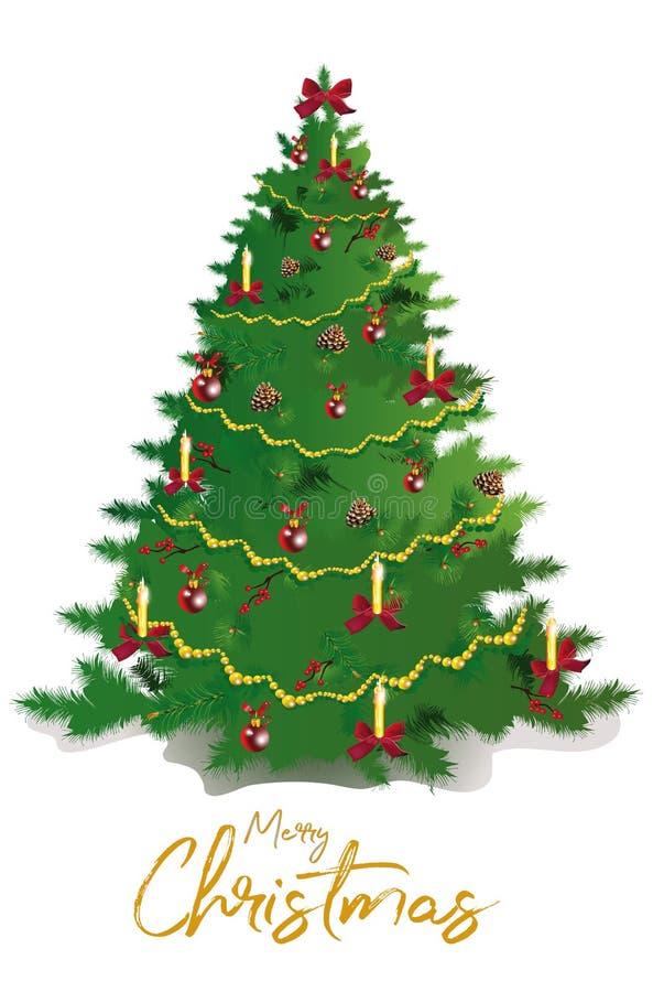 Weihnachtsbaum mit Dekorationen von den roten Bändern und von den Bällen Editable Vektorillustration stock abbildung