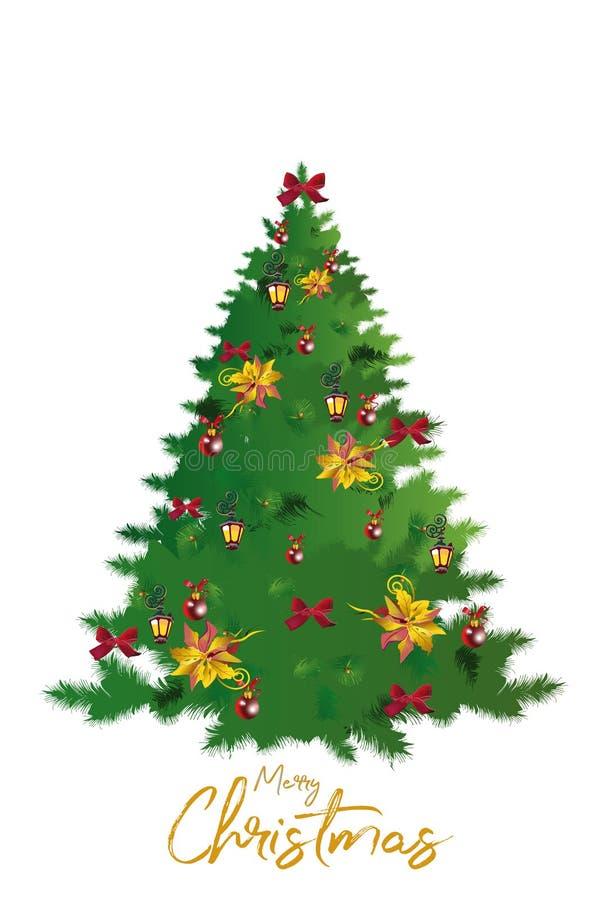 Weihnachtsbaum mit Dekorationen von den roten Bändern und von den Bällen Editable Vektorillustration vektor abbildung
