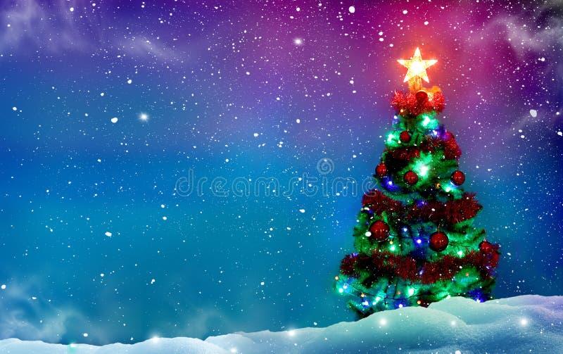 Weihnachtsbaum mit Dekorationen Weiße Schneeflocken auf einem blauen Hintergrund Fröhliches Christm stockfotografie