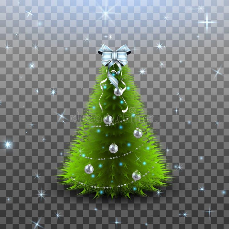 Weihnachtsbaum mit den silbernen Bällen, Girlande und dem Bogen auf das Oberseite lokalisiert stock abbildung