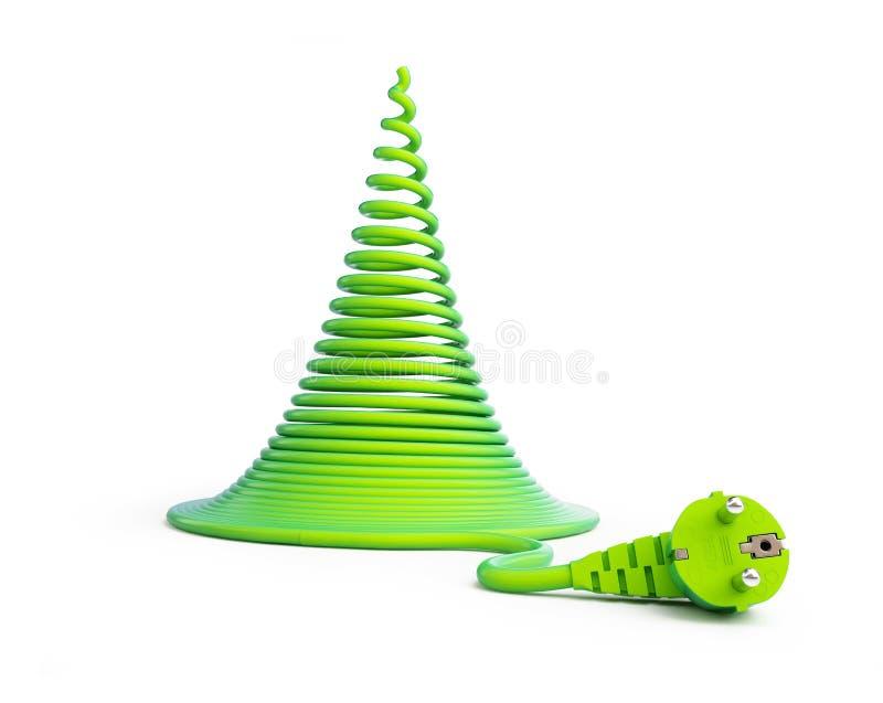 Weihnachtsbaum mit elektrischen Leitungen vektor abbildung