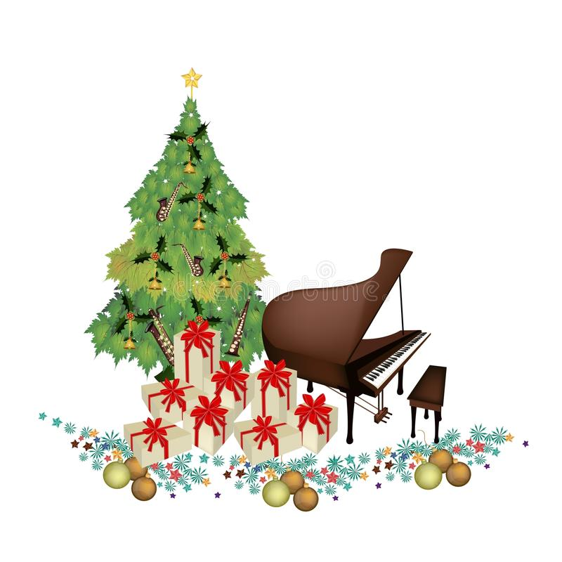 Weihnachtsbaum mit Geschenkboxen und Klavier vektor abbildung