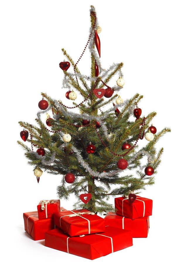 Weihnachtsbaum mit Geschenken stockfotos