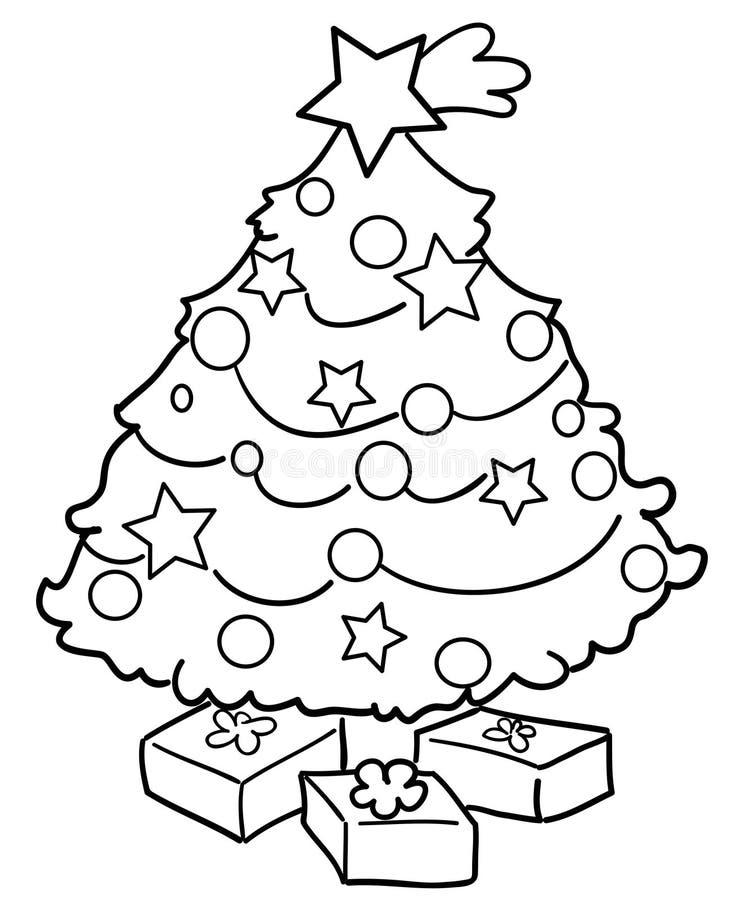 Weihnachtsbaum mit Geschenken lizenzfreie abbildung