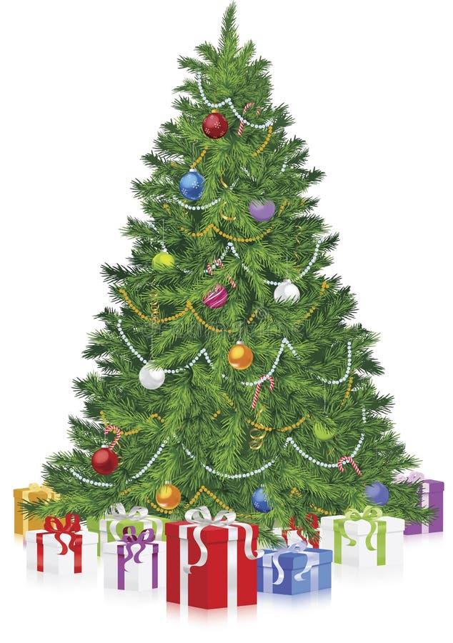 weihnachtsbaum mit geschenken auf reflexion vektor