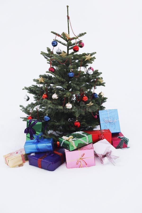 weihnachtsbaum mit geschenken im schnee stockfoto bild. Black Bedroom Furniture Sets. Home Design Ideas