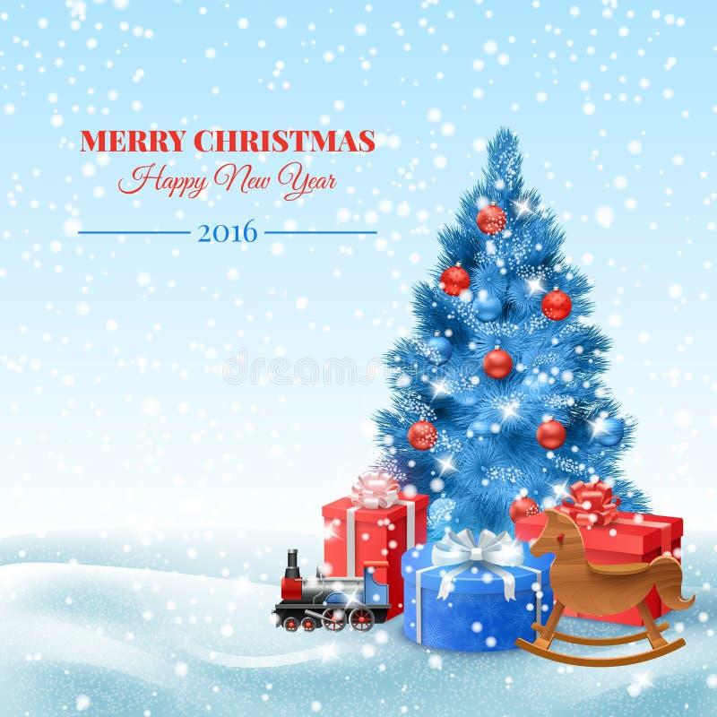 Weihnachtsbaum mit Geschenkkästen lizenzfreie abbildung