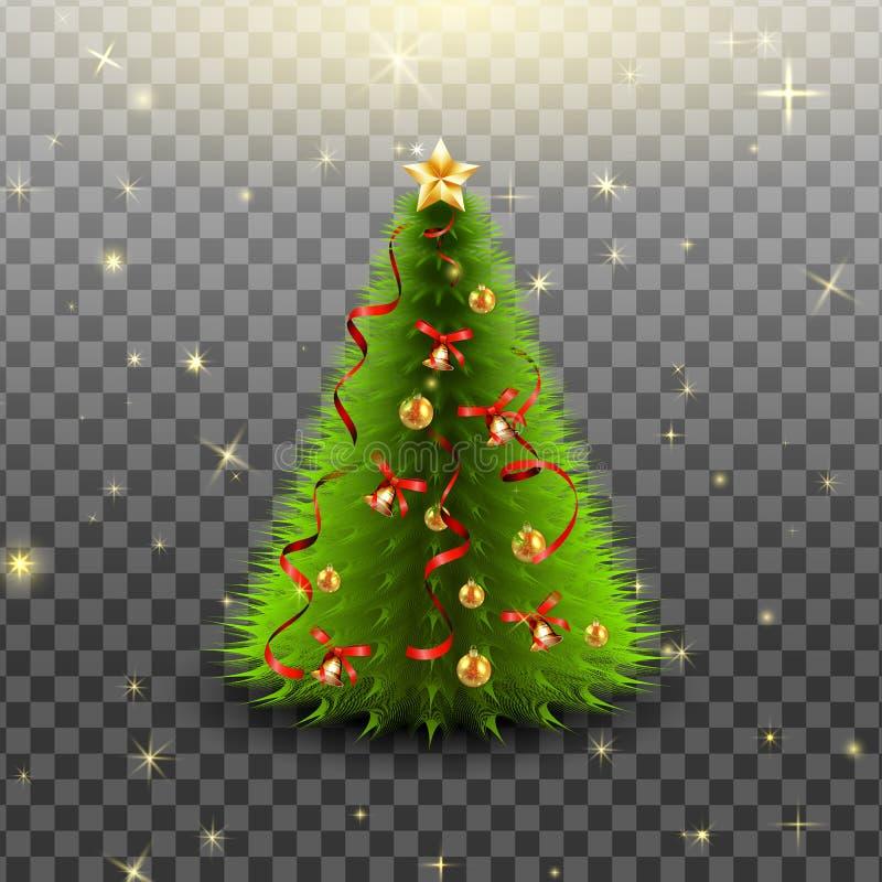 Weihnachtsbaum mit Glocken, goldene Bälle, roter Bogen und Bänder, lokalisiert stock abbildung