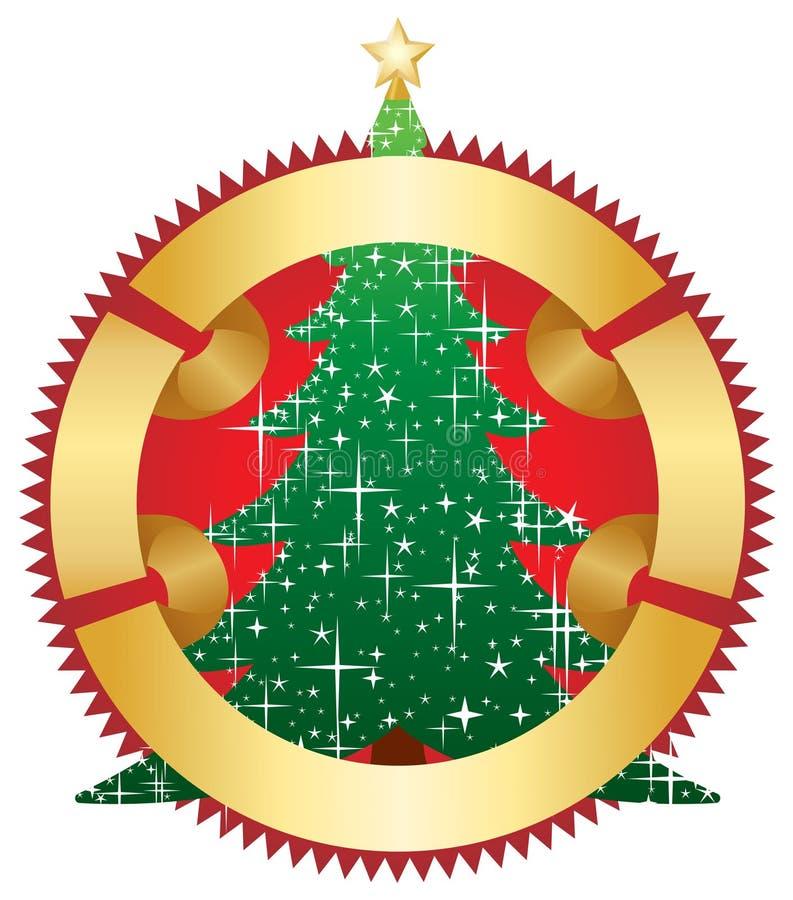 Weihnachtsbaum mit Goldfahne stock abbildung