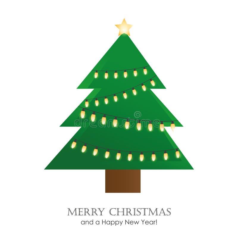 Weihnachtsbaum mit Grußkarte der feenhaften Lichter stock abbildung